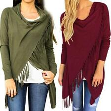 NEW Womens Long Sleeve Tassel Round Collar Slash Blouse Loose Casual Tops Shirt