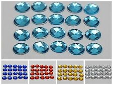 500 Acrylic Flatback Faceted Oval Rhinestone Gems 6X8mm No Hole Pick Your Color