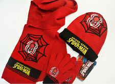 Lot Spider-man knit beanie hat children winter knitted scarf gloves hat 3pcs/set