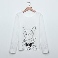 Cute Bunny Women Girl Scoop Neck Rabbit Sweaters Jumper Tops Pullover Blouse G24