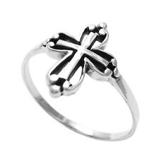 925 Sterling Silver Unique Cut-Out Cross Ring Size 5-9