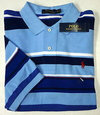 NWT $89 Polo Ralph Lauren Mesh Shirt Mens Stripe Short Sleeve Blue SS Cotton NEW
