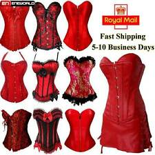 Sexy Red Overbust Corset Basque lingerie Boned Lace up Waist Cincher Bustier UK