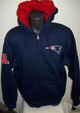 NEW ENGLAND PATRIOTS Hooded Jacket Full Zip Sherpa Hoody Sewn Logos LARGE BLUE