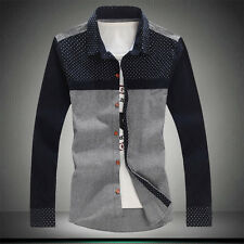 New Men Fashion Slim Fit Polka Dot Patchwork Long Sleeve Business Casual Shirts