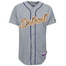Detroit Tigers MAJESTIC Authentic USMC Military Camo Grey Road Cool Base Jersey