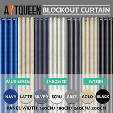 ARTQUEEN Blockout Curtains 3 Layers Eyelet Fabric Blackout Room Darkening 100%