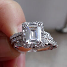 1.9ct Emerald White CZ 925 Sterling Silver Wedding Ring Set Engagement Ring Sets