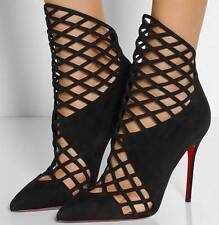 Christian Louboutin MRS BOUGLIONE Suede Caged Sandals Heels Shoes Booties $1595