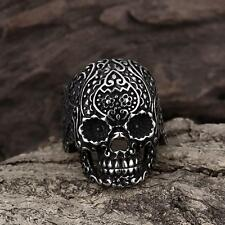 316L Stainless Steel Fashion Men Punk Floral Skull Biker Ring cool Jewelry Gift