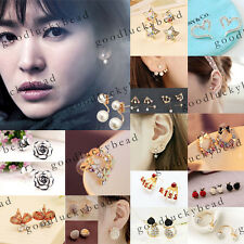 Stylish Gold/Silver Pearl Crystal Rhinestone Plated Earring Ear Stud Jewelry