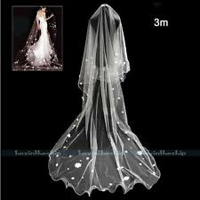 New 3M White/Ivory Cathedral Length Bride Wedding Bridal Flower Pearl Long Veil