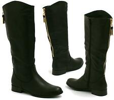 WOMENS LADIES BLOCK LOW HEEL KNEE HIGH MID CALF WINTER RIDING BOOTS SHOES SIZE