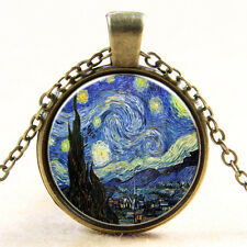 Vintage Van Gogh Star Galaxy Cabochon Silver Glass Ball Chain Pendant Necklaces