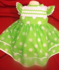 DREAM BABY GIRLS SPANISH LINED LIME SPOT DRESS ALL SIZES NEWBORN UPTO 5-6 YEARS