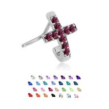 316L Surgical Steel L Bend Nose Stud Ring Cross CZ Nose Hugger 20 Gauge 20G