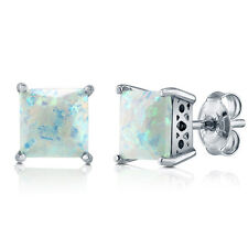 BERRICLE Sterling Silver Princess Simulated Opal CZ Solitaire Stud Earrings