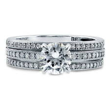 BERRICLE Sterling Silver 1.37 Carat Round CZ Solitaire Engagement Ring Set
