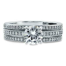 BERRICLE Sterling Silver Round CZ Solitaire Engagement Ring Set 1.37 Carat