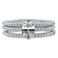 BERRICLE Sterling Silver Oval CZ Solitaire Engagement Wedding Stackable Ring Set