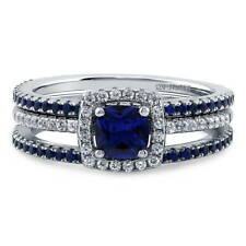 BERRICLE Silver Cushion Simulated Sapphire CZ Halo Engagement Ring Set 1.28 CTW