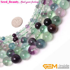 "Natural Round Fluorite Gemstone Loose Beads Strand 15"" Smooth Rainbow Color"