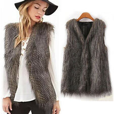 Women Fashion Faux Vest Sleeveless Coat Outerwear Long Hair Jacket Waistcoat