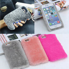 """Luxury Bling Rhinestone Faux Rabbit Fur Case Cover For iPhone 6s 6 Plus 4.7/5.5"""""""