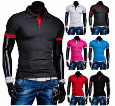 6 Colors New Men's Stylish Casual Slim Fit Polo Shirts Short Sleeve T-shirt Top