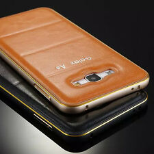 For Samsung Galaxy Luxury Metal Aluminum Bumper Leather Back Case Cover Skin