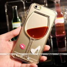 New 3D Dynamic Liquid Quicksand Wine Glass Cup Clear Back Case Cover for iPhone