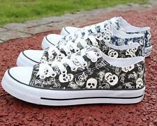 men casual skull decor lace up canvas shoes students athletic sport sneaker C923