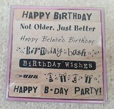 INKADINKADO Birthday Card Peg Stamp Set 7cm x 7cm Block Set For Craft Projects