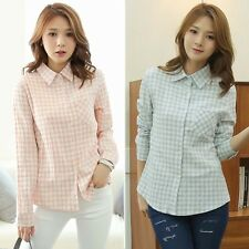 New Women Casual Slim Fit Stylish Dress Shirts Plaids Fashion Long Sleeve Shirts