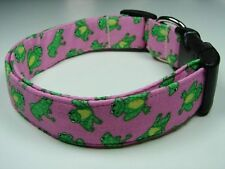 Charming Pink With Cute Green Frogs Dog Collar