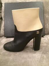CHANEL 15A Leather Two Tone Ankle Booties Boots Heels Shoes Black Beige $1325