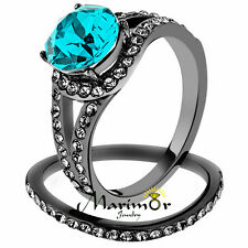 Stainless Steel 2.39 Ct Blue Zircon Crystal Gray Wedding Ring Set Womens Sz 5-10