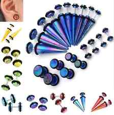 Pair Acrylic Colorful Taper Fake Cheater Plug Tunnel Ear Stud Barbell Earrings