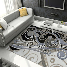 Modern Abstract Beige Gray Hand Carved Area Rug Contemporary Shapes Carpet
