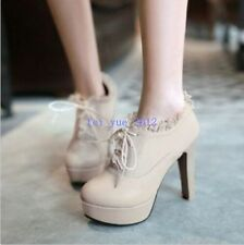 Womens Cute High Heel Platform Pumps Lace Up Ankle Bootie Dating Shoes Plus Size