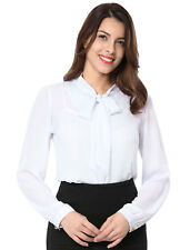 Woman Tie-bow Neck Puff Sleeve Buttoned Cuff Chiffon Blouse Top