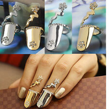 Exquisite Cute Fashion Flowers Rhinestone Fingernail Nail Ring Rings New 2 Color