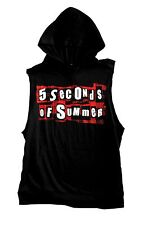 "5 SECONDS OF SUMMER ""PLAID LOGO"" SLEEVELESS HOODED T-SHIRT NEW OFFICIAL BAND JRS"