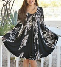 SEXY LITTLE BLACK PAISLEY TAUPE BOHO BABYDOLL BELL SLEEVE MINI DRESS S M L XL