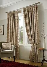RED FLORAL WOVEN TAPESTRY JACQUARD PENCIL PLEAT LINED CURTAINS *5 SIZES*