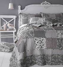VENICE Grey Floral Patchwork Quilt / Bedspread or Pillowsham or Cushion Cover