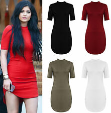 NEW WOMENS LADIES CELEB SHORT SLEEVE POLO TURTLE NECK CURVED TUNIC MIDI DRESS