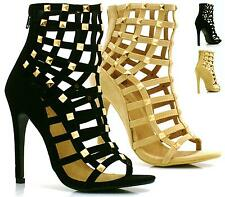 LADIES WOMENS CUT OUT STUD HIGH HEEL ANKLE BOOTS GLADIATOR SANDALS STRAPPY SIZE
