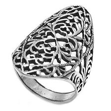 925 Sterling Silver Intricate Cut-Out Design Clover Ring Size 6-9