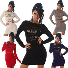 Ladies Knitted Dress Crew neck Party Mini Cocktail Long sleeve (D-857)